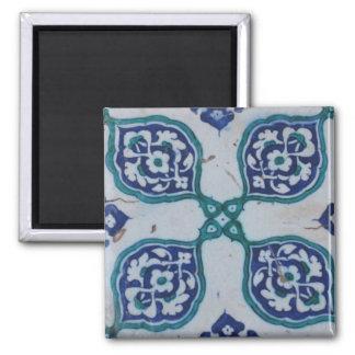 Antique Ottoman Tile Design Square Magnet