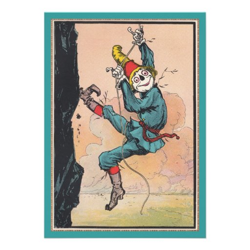 Antique OZ Scarecrow Cute Kids Party Invitations