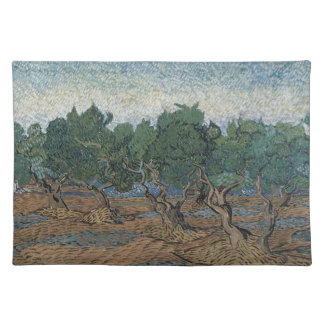 antique painting van gogh olive grove placemats