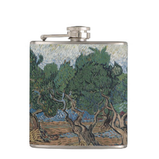 antique painting van gogh olive grove hip flask
