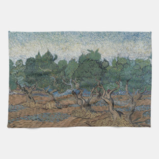 antique painting van gogh olive grove hand towel
