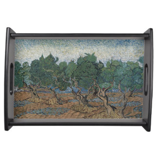antique painting van gogh olive grove serving trays