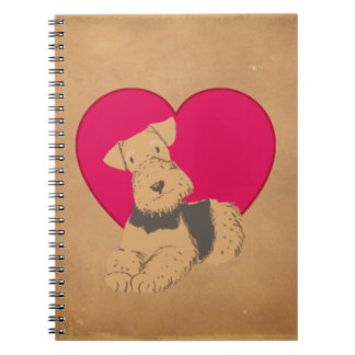 Antique Paper-Cherry Red Heart-Terrier Journal