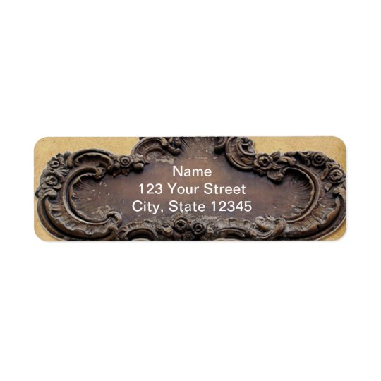 Antique Parchment and Brass Plaque Return Address Return Address Label