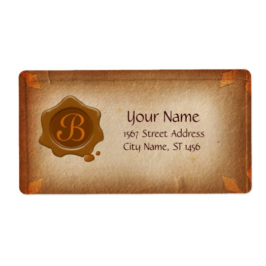 ANTIQUE PARCHMENT AND BROWN WAX SEAL MONOGRAM
