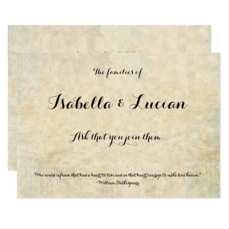 Antique Parchment print Wedding Invitations