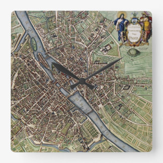 Antique Paris Map 1657 Seine River Vintage France Square Wall Clock