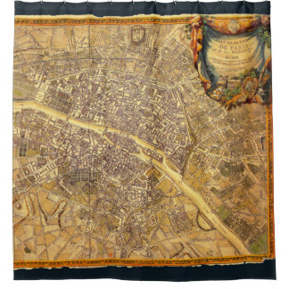 Antique Paris Map 1765 Worn Edge Vintage France Shower Curtain