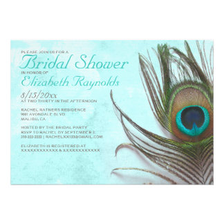 Antique Peacock Feather Bridal Shower Invitations Personalized Invitations