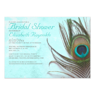 Antique Peacock Feather Bridal Shower Invitations