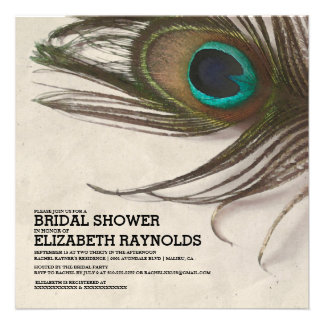 Antique Peacock Feathers Bridal Shower Invitations Personalized Invites