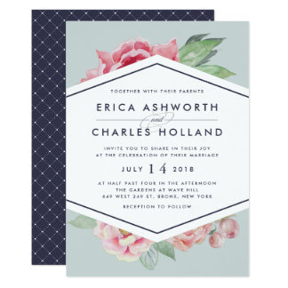 Antique Peony | Blush and Sage Wedding Invitation
