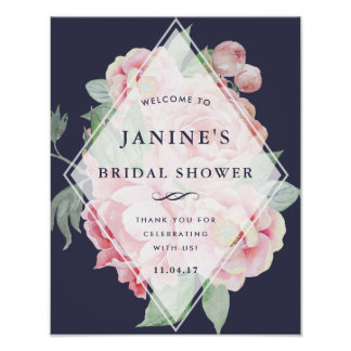 Antique Peony Bridal Shower Welcome Sign