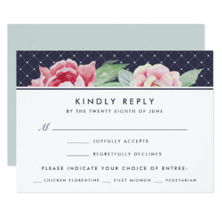 Antique Peony RSVP Card With Meal Choice