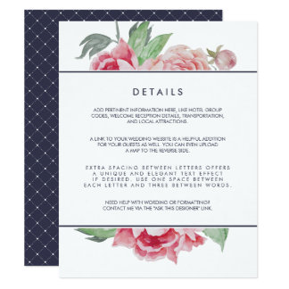 Antique Peony Wedding Guest Details Card