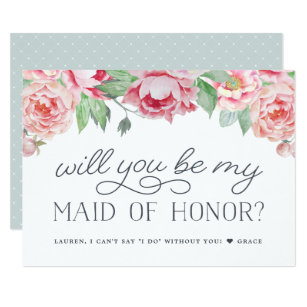 Antique Peony | Will You Be My Maid of Honour Card