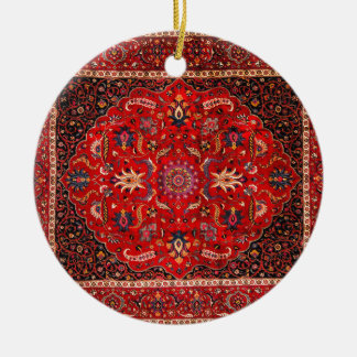 Antique Persian Mashhad Rug Christmas Ornament
