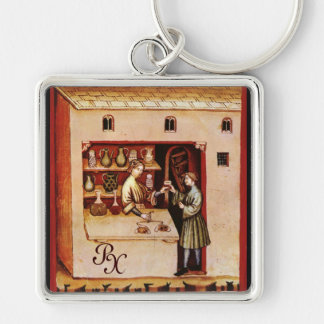 ANTIQUE PHARMACY Medicine, Drug Store,Parchment Keychain