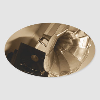 Antique Phonograph Gramophone Gifts Music Lovers Oval Sticker