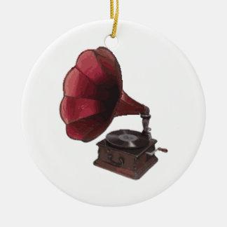Antique Phonograph Round Ceramic Decoration