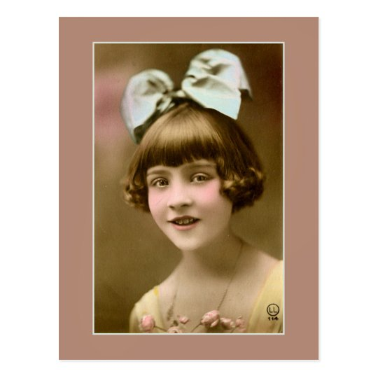 Antique photo 1920s girl with hair bow postcard