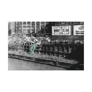 Antique photo Chicago Car colorsplash angry auto Canvas Print