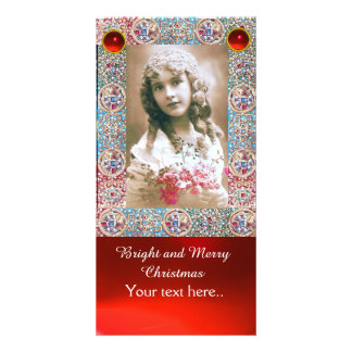 ANTIQUE PHOTO FRAME,ANGELS,PRECIOUS JEWELS,RED GEM CUSTOMISED PHOTO CARD