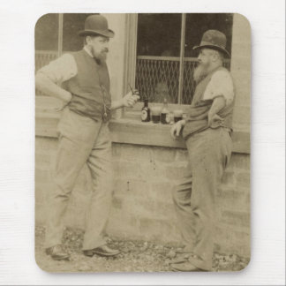 Antique photograph two men drinking beer mouse pad