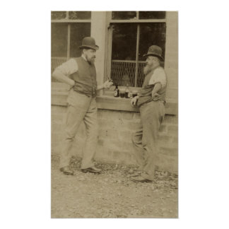 Antique photograph two men drinking beer poster