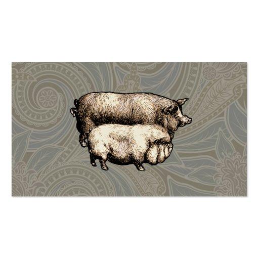 Antique Pigs Vintage piggy drawing Business Card Templates