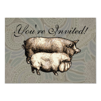 Antique Pigs Vintage piggy drawing Personalized Invite