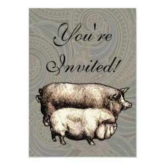 "Antique Pigs Vintage piggy drawing 4.5"" X 6.25"" Invitation Card"