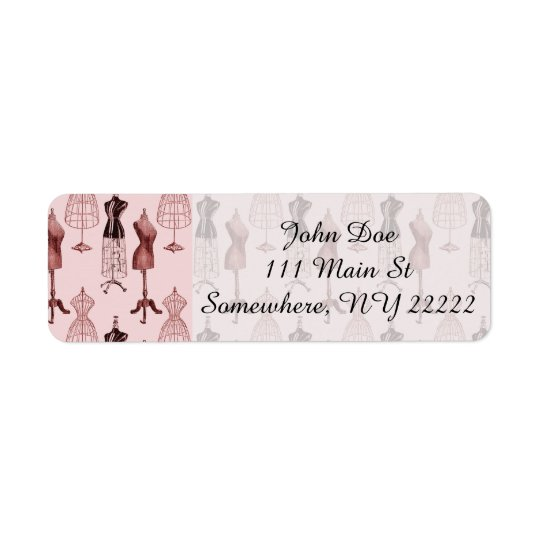 Antique Pink Dress Forms Return Address Label