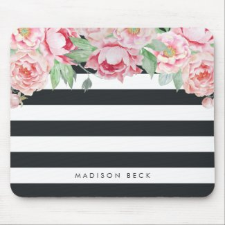 Pink Peony & Charcoal Stripe Mouse Mat