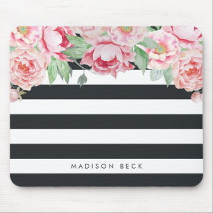 Antique Pink Peony & Charcoal Stripe Mouse Mat