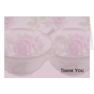 Antique Pink Rose Tea Cup on Mauve Card