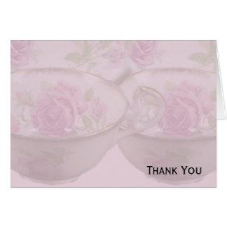Antique Pink Rose Tea Cup on Mauve Note Card