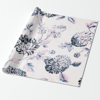 Antique Pink Vintage Botanical Floral Toile Wrapping Paper