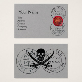 ANTIQUE PIRATES TREASURE MAP,Red Wax Seal Grey Business Card