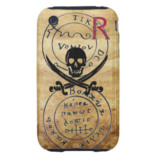 ANTIQUE  PIRATES TREASURE MAP ,SKULL AND SWORDS iPhone 3 TOUGH COVERS