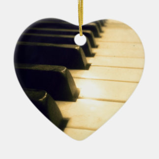 Antique Player Piano Keys Ceramic Heart Decoration