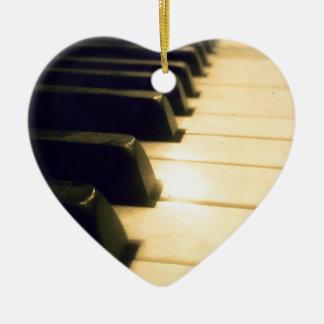 Antique Player Piano Keys Ceramic Heart Decoration