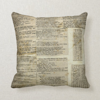 Antique Poetry Paper Clippings Throw Pillow