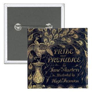 Antique Pride and Prejudice Peacock Edition Cover 15 Cm Square Badge