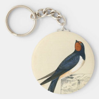 Antique Print of a Swallow Key Ring