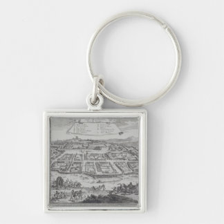 Antique Print of Congo Silver-Colored Square Key Ring