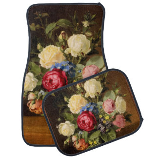 """Antique Print """"Victorian Roses"""" Car Mats"""