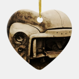 Antique Project Truck Old Photo Style Ceramic Heart Decoration