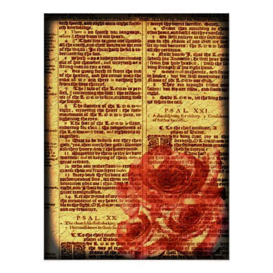 Antique Psalms & Roses Print