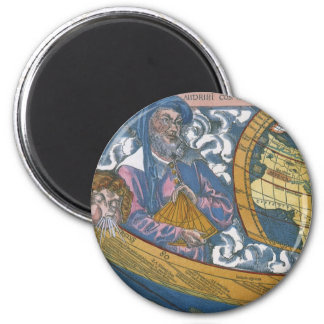 Antique Ptolemaic World Map; Claudius Ptolemy 6 Cm Round Magnet
